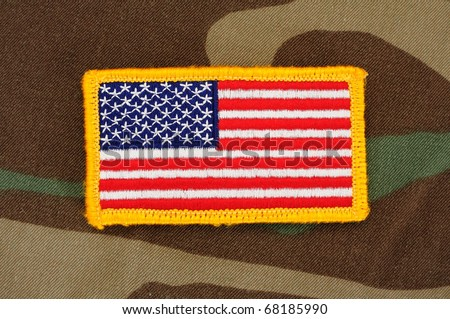 US Flag Patch On Woodland Camo Stock Photo (Edit Now) 68185990 ... 85a046ae6ea