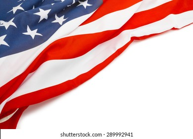 US flag with place for your text - close up studio shot