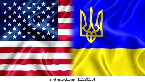 US flag and Ukraine silk