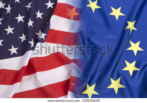 US flag vs. European Union flag as a background
