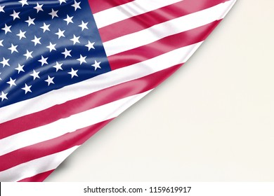 US flag: white background and place for text