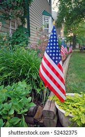 US flags decoration on Independence day, 4th July