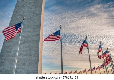 US Flags Surrounding the Washington Monument at Sundown, Washington D.C.