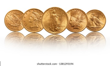 US gold coins twenty dollar double eagle indian head, isolated on white background
