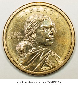 US Gold Dollar Coin Featuring Native American Sacagawea