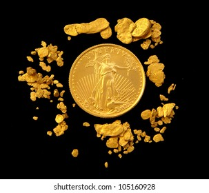 US Gold Eagle Surrounded by Natural Gold Nuggets