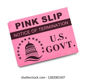 US Government Pink Slip Notice of Termination Isolated on White.