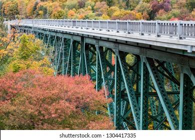U.S. Highway 2 crosses the Cut River Bridge surrounded by the beautiful fall foliage along Lake Michigan in Mackinac County in Upper Peninsula Michigan.