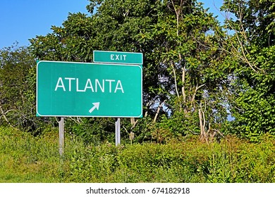 US Highway Exit Sign for Atlanta