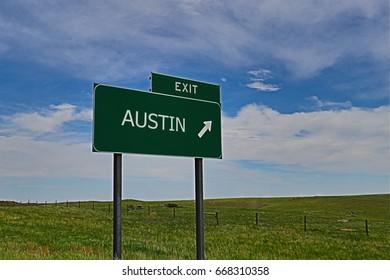 US Highway Exit Sign for Austin.