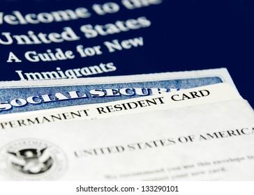 US immigration documents closeup