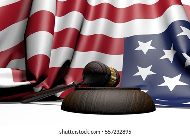 US justice concept. Wooden and gold ceremonial mallet with USA flag of fabric. Image with white background. Isolated. 3D Rendering