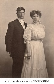 US - KANSAS - CIRCA 1890 - A vintage photo of a young couple on their wedding day. A photo is from the Victorian era. CIRCA 1890