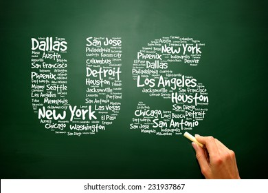 US letters with cities names words cloud on blackboard, presentation background