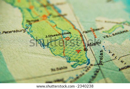 Us Map Miami Florida Map Stock Photo Edit Now 2340238 Shutterstock - Us-map-miami