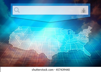 US map with states. Half transparent white map of United States at colourful background.