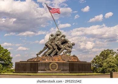 US Marine Corps Memorial. Monument located in Arlington Virginia, near Washington DC. Photograph shot on May 22, 2015.