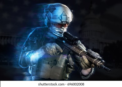 US marine corps soldier coming out from holographic projection on black background. (future technology military concept)