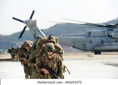 US marine corps soldiers participating in Ssangnyong landing operation exercise on March 31, 2014 in Pohang, South Korea.