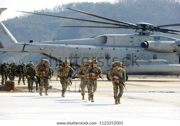 US marine corps and South Korea marine corps soldiers participating in Ssangnyong landing operation exercise on March 31, 2014 in Pohang, South Korea.
