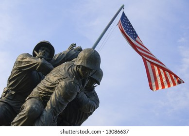 The US Marine Corps War Memorial is located near Arlington National Cemetery in Rosslyn, Virginia.