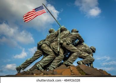 The US Marine Corps War Memorial in Arlington, Virginia.