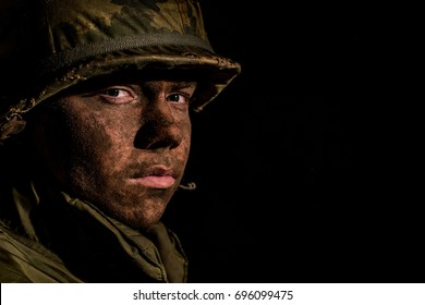 US Marine (Vietnam War) With dirty Face From The Battlefield