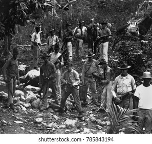 US Marines and a guide in search of bandits in 1919 during the US occupation of Haiti. US occupation supported racial segregation, press censorship, economic corruption, and forced labor that led to a