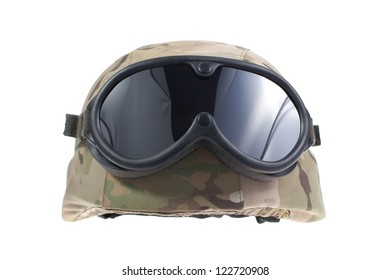 us marines kevlar helmet with a multicam camouflage cover and protective goggles