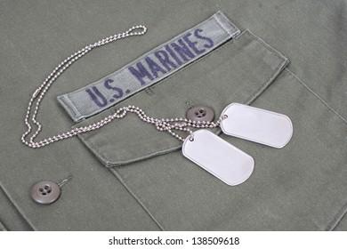 us marines uniform Korean War period with blank dog tags