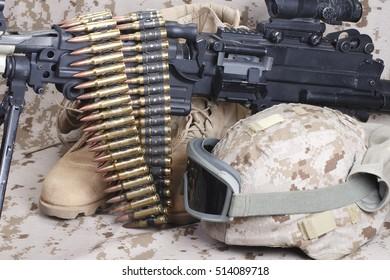 US Marines uniform with machine gun