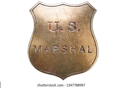 US Marshal badge from the wild west on white background
