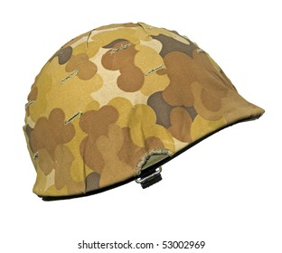 A US military helmet with an M1 Mitchell cloud pattern, or autumn-winter, camouflage cover. It was first issued in 1953 just as the Korean war ended.