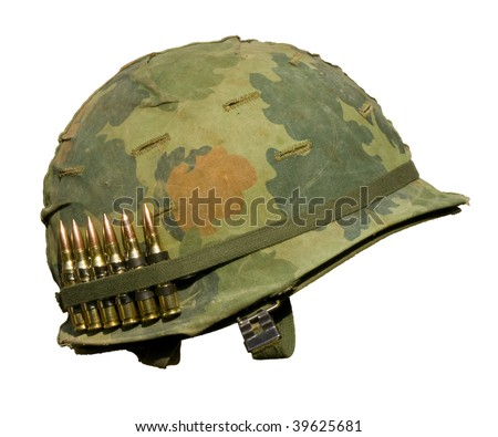 350b80a5a42 A US military helmet with an M1 Mitchell pattern camouflage cover from the  Vietnam war