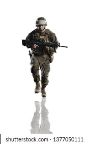 U.S. military marine. soldier. Studio shooting. running pose with reflections. Isolated on white.