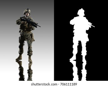 U.S. military marine. soldier. Studio shooting. Turn right. with reflections. isolated. With alpha channel.