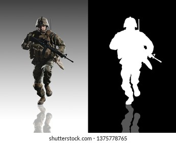 U.S. military marine. Studio shooting. With alpha channel. frontal pose. Running. with reflections. isolated.