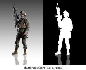 U.S. military marine. Studio shooting. With alpha channel. frontal pose. Standing. with reflections. isolated.