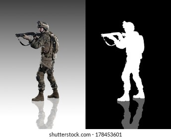 U.S. military marine. Studio shooting. with reflections. left turn view. isolated. With alpha channel.