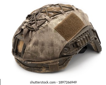 Us military tactical helmet Velcro for Chevron, case and straps Picatinny equipment. Photo isolated on a white background. The concept of weapons for airsoft and urban protests.