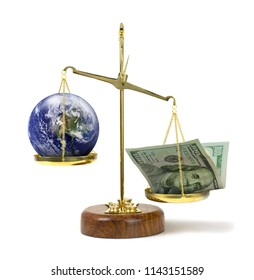 U.S. money outweighing world on scale showing greed & political corruption money being more powerful than safety of the world environment, social justice & people. Some elements provided by Nasa.