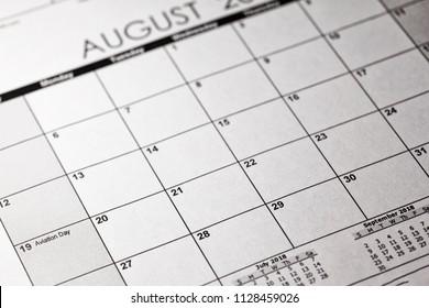 US National Aviation Day Concept. 19 August 2018 calendar.