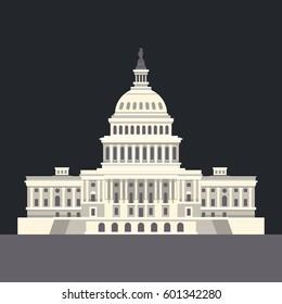 US National Capitol in Washington, DC. American landmark. illustration