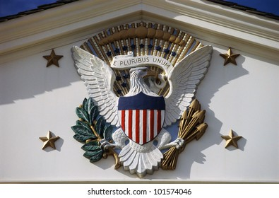 U.S. National Emblem and Presidential Seal at Herbert Hoover Site, West Branch, Iowa
