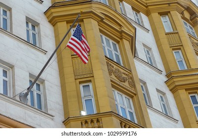 The US national flag on the building of the Embassy of the United States of America in Moscow.
