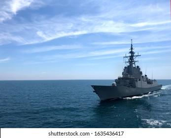 US navy NATO ship sailing at sea during nato war exercises