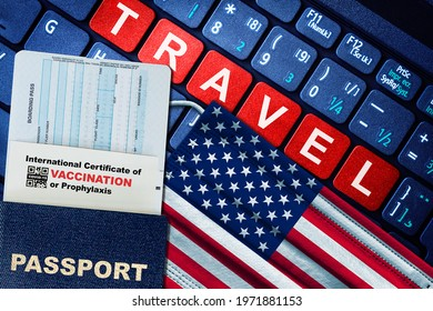 US new normal travel concept with passport, boarding pass, face mask with US flag and certificate of COVID-19 vaccination on keyboard. Vaccine passport concept.