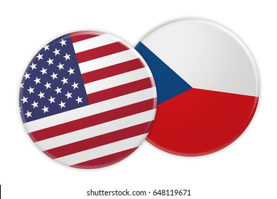 US News Concept: USA Flag Button On Czech Republic Flag Button, 3d illustration on white background