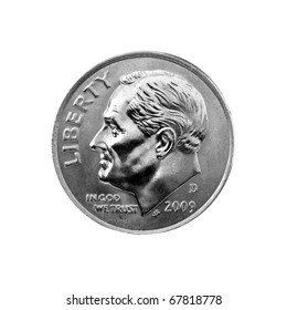 US one dime coin (ten cents) with Path