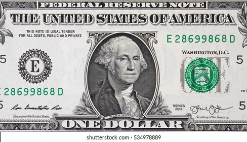 US one dollar bill close up, USA federal fed reserve note. American dollar is the official currency of the United States of America.